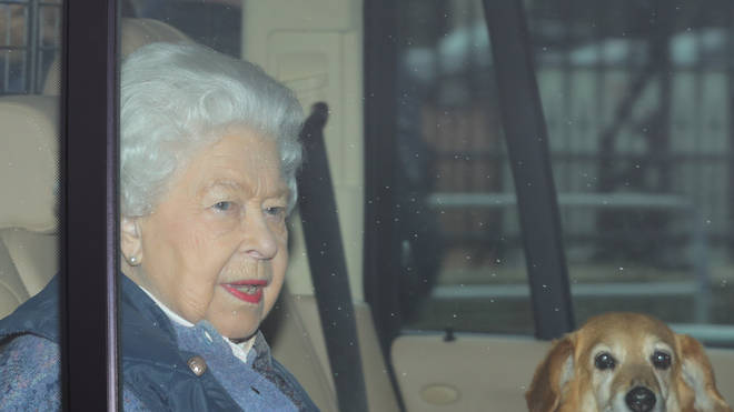 The Queen was pictured with one of her dogs