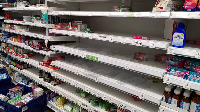 Many supermarket shelves have been empty