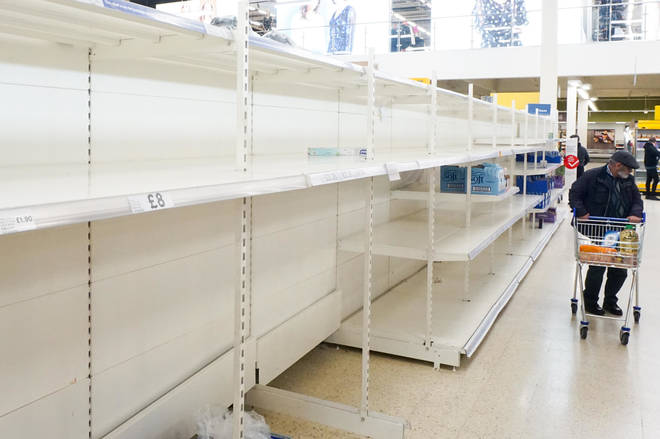 Shelves across the UK have been ransacked after people were urged to stay home
