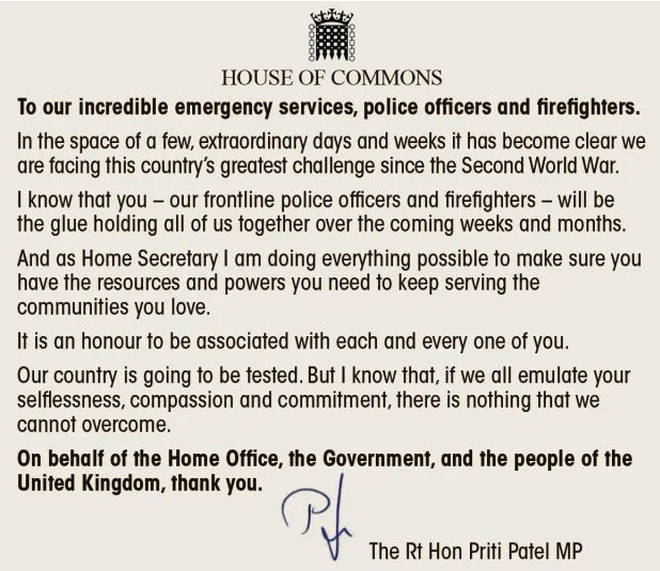 The Home Secretary wrote an open letter