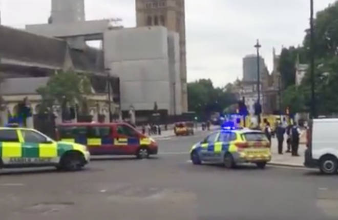 A huge police presence in Westminster