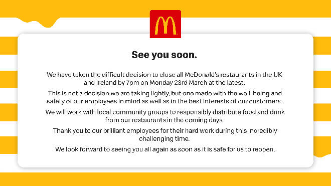 McDonalds is closing all stores in the UK and Ireland