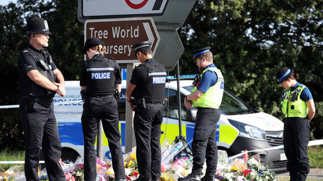 Pc Andrew Harper's colleagues paid their respects at the scene