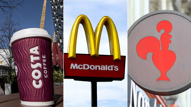 Costa Coffee, McDonald's and Nando's have all announced temporary closures