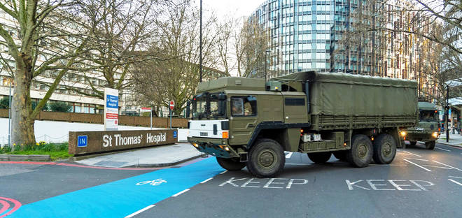 The Army delivered protective equipment to St Thomas's Hospital in central London earlier today