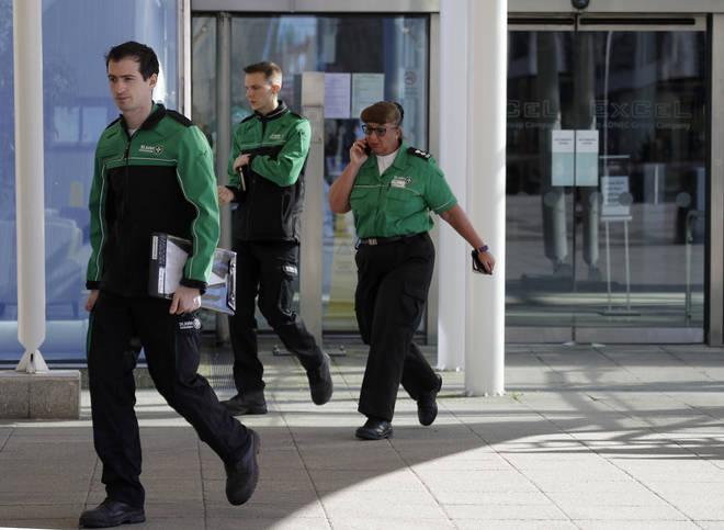 St John Ambulance staff leave the ExCel centre