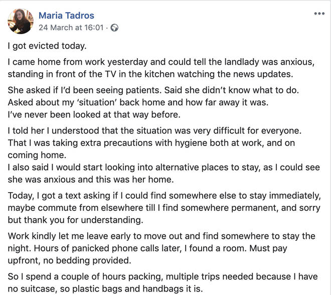 Maria Tadros was told to leave by her landlord