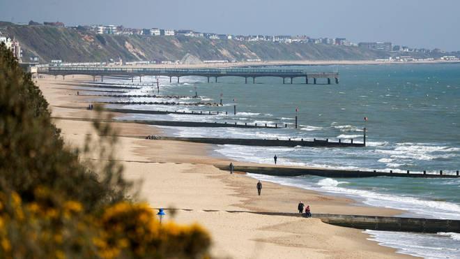 Bournemouth beach was deserted despite the warm weather
