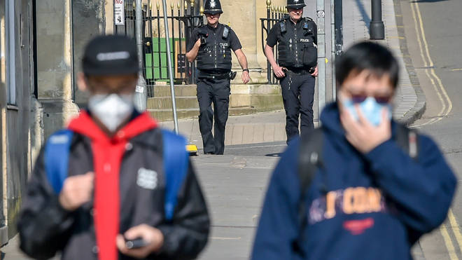 Police enforcing the UK's coronavirus lockdown