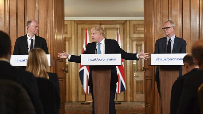 Prof Whitty (L) and Sir Patrick (R) have stood alongside Boris