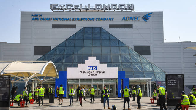 The hospital is being constructed inside the ExCel Centre in east London