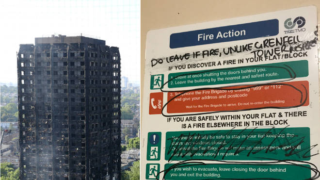 The fire instructions in the building next to Grenfell Tower