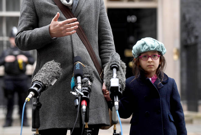 She was arrested whilst traveling with daughter Gabriella (pictured outside Downing Street recently)