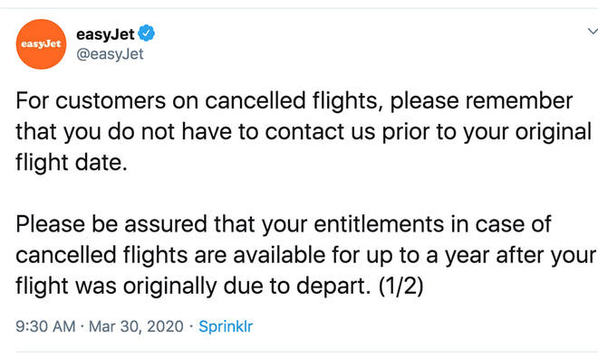 EasyJet have asked customers to not call unless urgent
