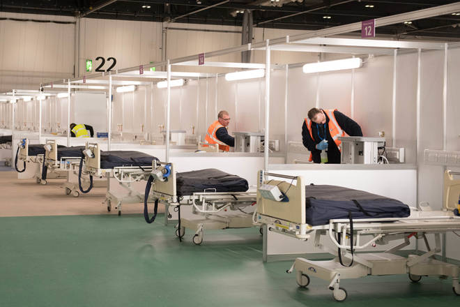 The ExCel centre in east London is being made into the temporary NHS Nightingale hospital