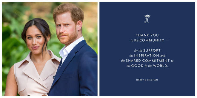 Harry and Meghan have posted the news on their Instagram