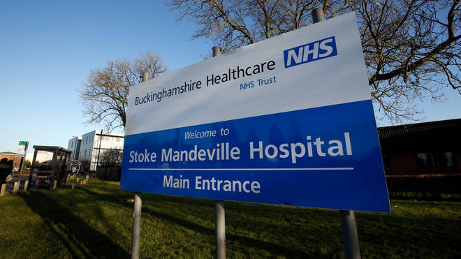 The 32-year-old was caught on CCTV at Stoke Mandeville Hospital on Monday