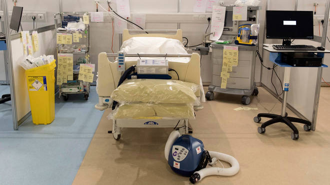Medical equipment is labelled and prepared for use by NHS staff at the ExCel centre in London