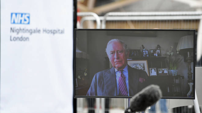 Prince Charles delivered a video message as he opened the 4,000 bed coronavirus hospital