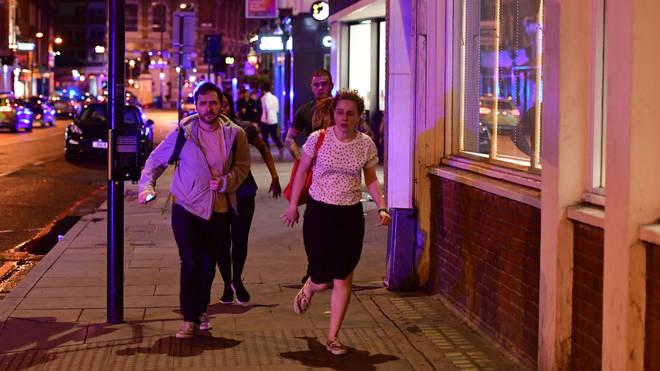 Londoners run away from the London Bridge terror attack