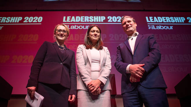 (left to right) Labour leadership candidates Rebecca Long-Bailey, Lisa Nandy and Sir Keir Starmer after a Labour leadership husting