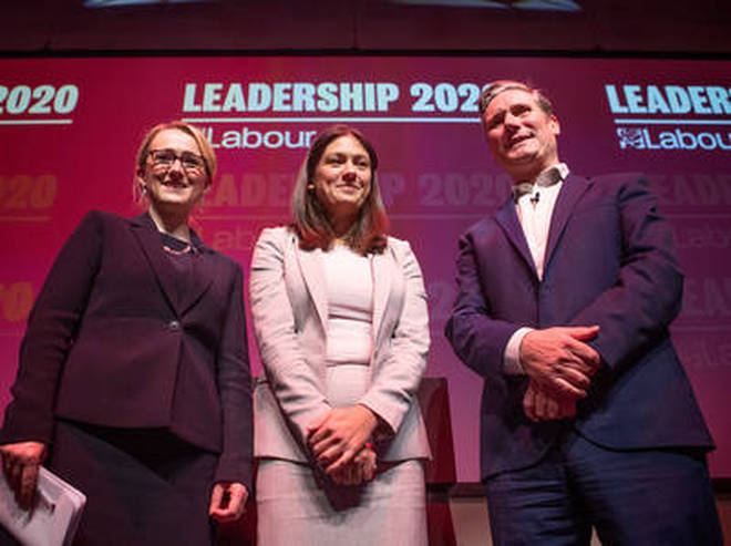 (left to right) Labour leadership candidates Rebecca Long-Bailey, Lisa Nandy and Sir Kier Starmer