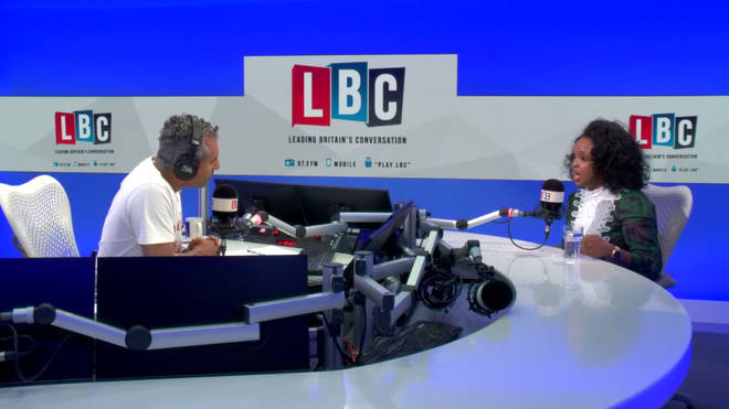 Maajid Nawaz and Nimco Ali in the LBC studio