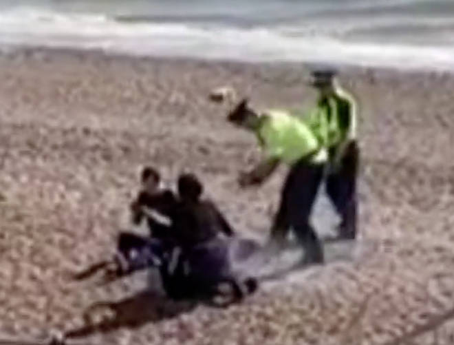 Police on Hove beach have put out one BBQ
