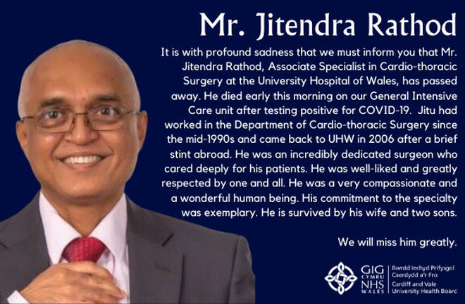 Surgeon Jitendra Rathod died on Monday in Cardiff