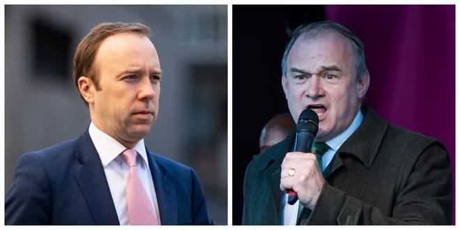 Health Secretary Matt Hancock (left) has come under pressure from acting Lib Dem leader Sir Ed Davey