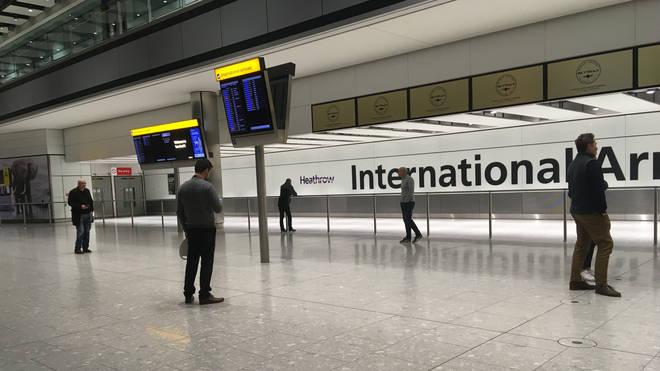 The empty arrivals concourse at Terminal 5 of Heathrow airport, London, on April 3