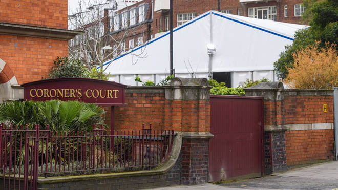 A temporary structure is built in the grounds of Westminster Coroners Court, to expand the mortuary's capacity during the Coronavirus outbreak