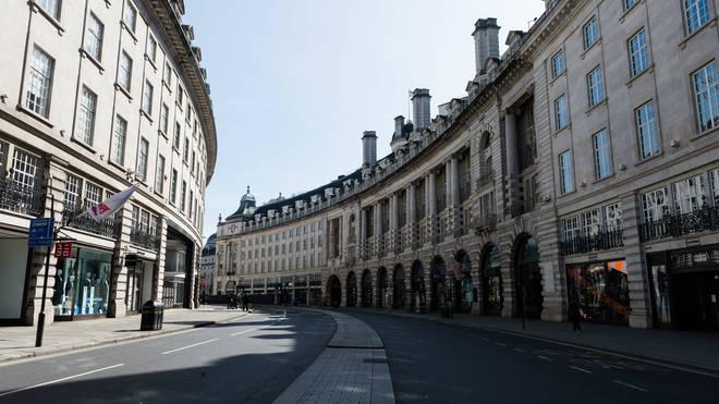 London's Regent Street deserted in the coronavirus lockdown