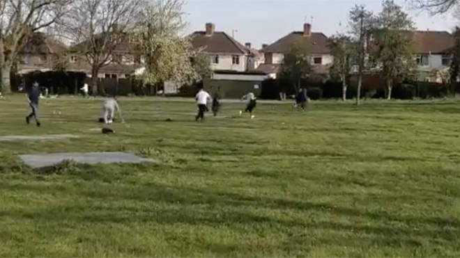 Police broke up a group of 20-30 men playing cricket in a London park