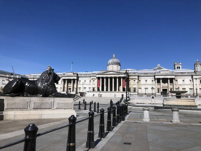 Deserted Trafalgar Square, London, during lockdown