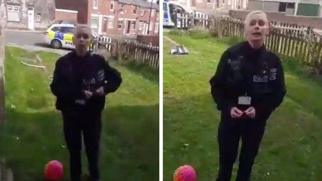 This police officer told a man he cannot be in his front garden