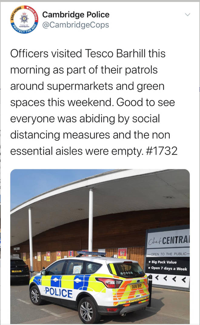 "The tweet implied the force were checking ""non-essential"" aisles"