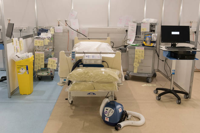 A bed in the ExCel London's NHS Nightingale which opened last week