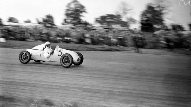 Sir Stirling Moss in action in a Cooper