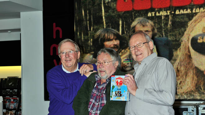 Tim Brooke-Taylor, Bill Oddie and Graeme Garden of The Goodies promote The Goodies' 40th anniversary DVD at HMV
