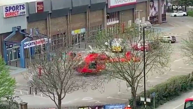 London's Air Ambulance landed in a nearby Sports Direct car park