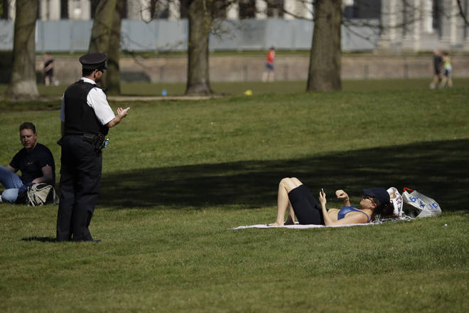 Police have been stopping people sunbathing