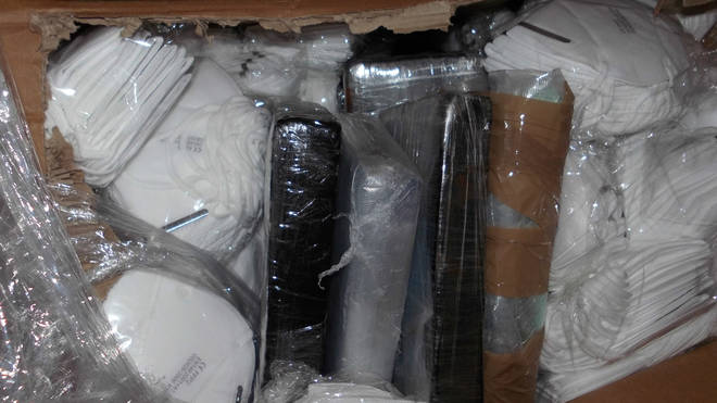 The stash of cocaine was found inside a shipment of face masks