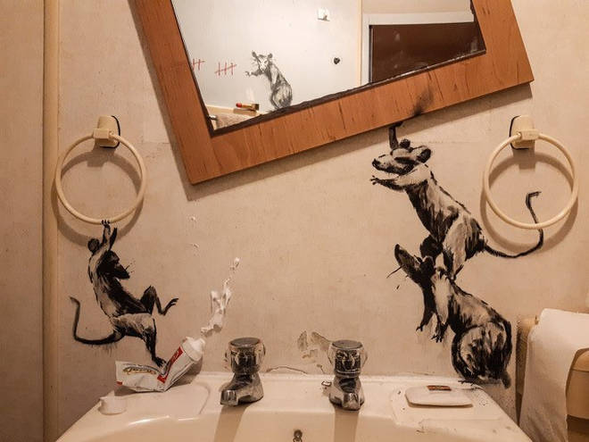 Banksy has released his latest work ... from his bathroom
