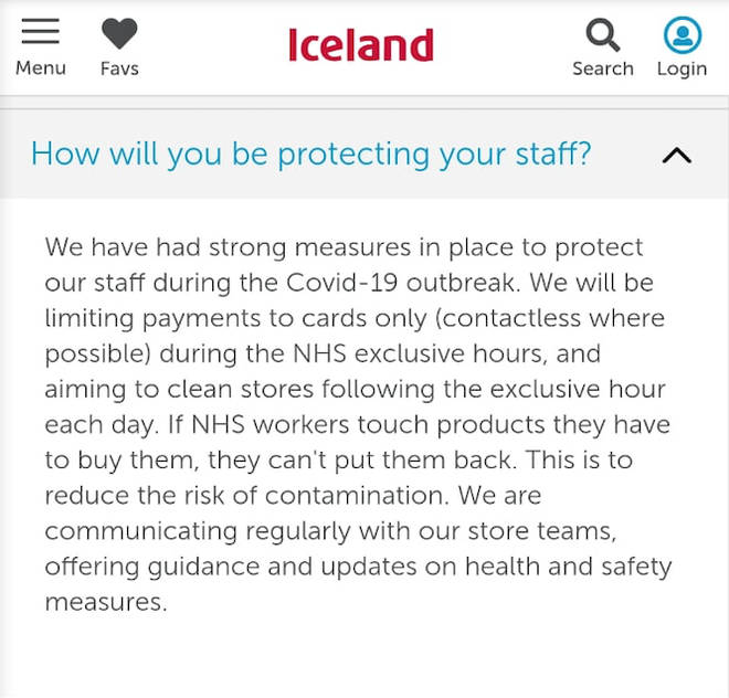 The policy is listed on the store's website