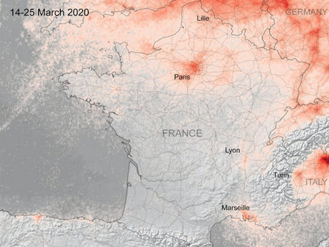 Pollution levels over France appear reduced due to the lockdown
