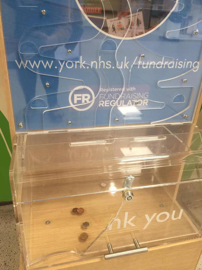 The charity box was smashed and donations were stolen