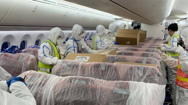 The seats were covered with protective material, before the cargo was loaded