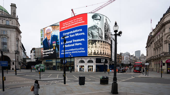 An hourly salute to Captain Tom the army veteran in Piccadilly Circus, London