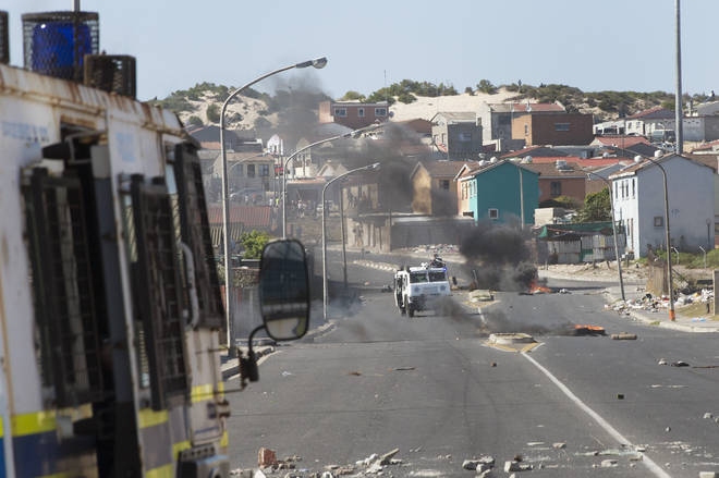 There were clashes with residents in Cape Town amid food shortages